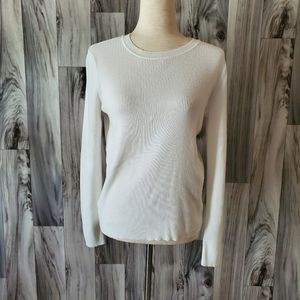 Halogen White Ribbed Long Sleeve Top Sz 1